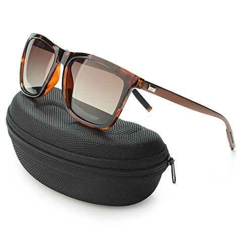 IALUKU Wayfarer Sunglasses Polarized Women Men Mirrored UV400 Full Frame (Tortoise, - Sunglasses Frame Tortoise
