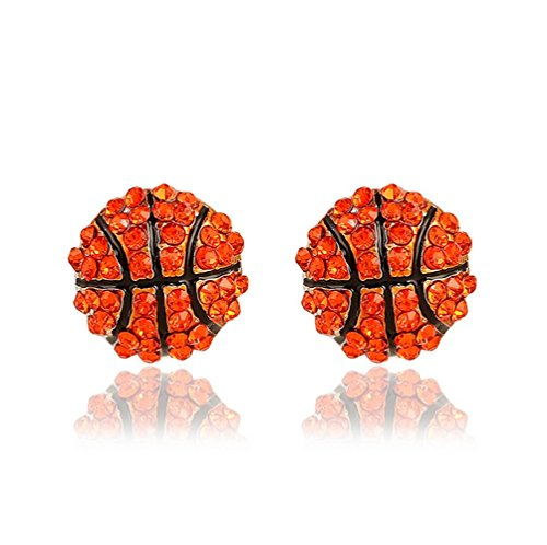 - Winter's Secret Red Fashion Competitive Match Sports Basketball Shape Diamond Accented Stud Earring