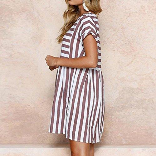 55ce768fc1bf ... PAOLIAN Kleider Damen Gestreift Sommer Strand Minikleid A-Linie Swing  Sommerkleid Beiläufig Tunika Kurzarm T