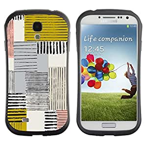 """Pulsar iFace Series Tpu silicona Carcasa Funda Case para SAMSUNG Galaxy S4 IV / i9500 / i9515 / i9505G / SGH-i337 , Resumen Mostaza Amarilla Líneas cuadros"""""""