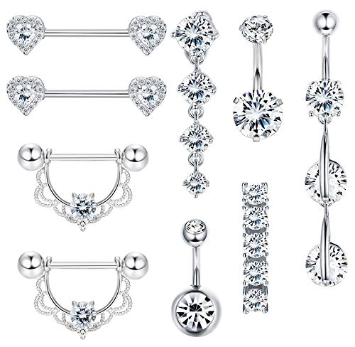 FIBO STEEL 9Pcs 14G Stainless Steel CZ Dangle Belly Button Rings for Women Navel Barbell Nipple Rings Tongue Ring Piercing Body ()