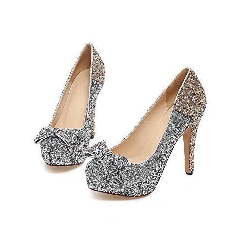 Toe Soft Closed Shoes Materials Pumps Pull Women's Gold On Solid Heels High WeiPoot Round qpwvx6Cw