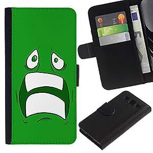 KingStore / Leather Etui en cuir / Samsung Galaxy S3 III I9300 / Enfriar Sad Face Asustado Ugly Dientes Miedo verde de la historieta