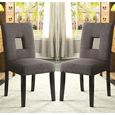 Home Maldives Open Back Grey Upholstered Parsons Dining Chairs (Set Of 2)