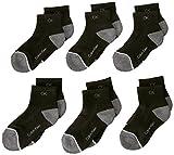 Calvin Klein Little Boys' CK Athletic Quarter Sock, Black, 4-7