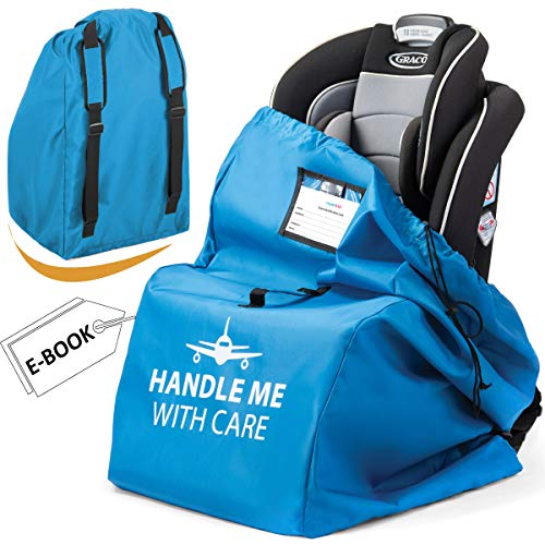Car Seat Bag for Airplane with Pouch | Carseat Travel Bags for Safe and Protect Carseat - Waterproof and Universal Size | Infant Car Seat Travel Bag for Airplane Easy Carry Blue Car Seat Carrier