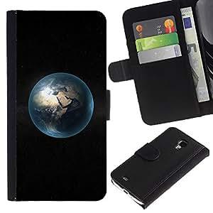Ihec-Tech / Flip PU Cuero Cover Case para Samsung Galaxy S4 Mini i9190 MINI VERSION! - Space Planet Minimalist Bubble