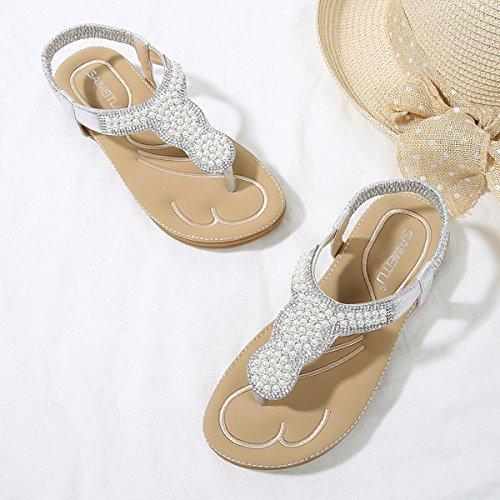 Dita Le Estivi Pantofole Da Casual Pietre Boemo Elastico Passeggio Donne Piatte Con Per Piatti Argento Sandali Scarpe Gracosy Spiaggia Clip RIqg0T