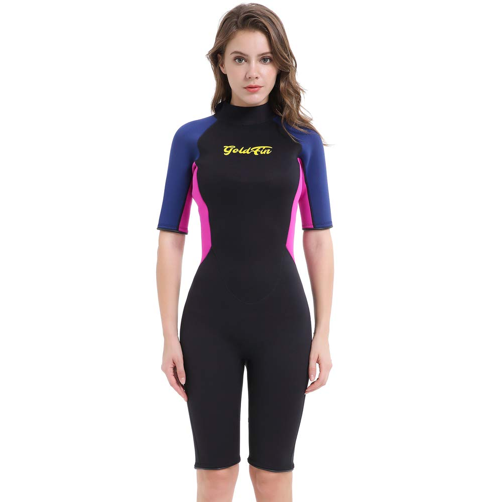 GoldFin Shorty Wetsuit Women, 3mm Neoprene Thermal Swimsuit Back Zip for Scuba Diving Surfing Snorkeling Swimming, DW004 (Black/Fuchsia, XL) by GoldFin