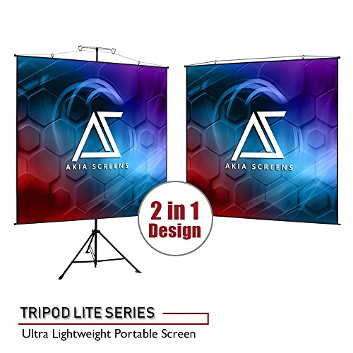 Akia Screens 2 in 1 Portable Projector Screen Dual Tripod Stand/Wall Mount 57 in 1:1/47 in 16:9/48 in 16:10 for Indoor Outdoor Screen 4K / 8K HD Projector Screen with Carrying Bag AK-T57SLITE ()