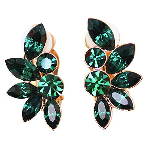 - Faship Gorgeous Green Rhinestone Crystal Floral Clip Ons Earrings - Green/Rose-Gold-Plated