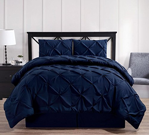 Oxford Decorative Pinch Pleat Comforter Set, 3 Pieces, Hypoallergenic Comforter, Down Alternative Fill, Twin Extra long, Navy