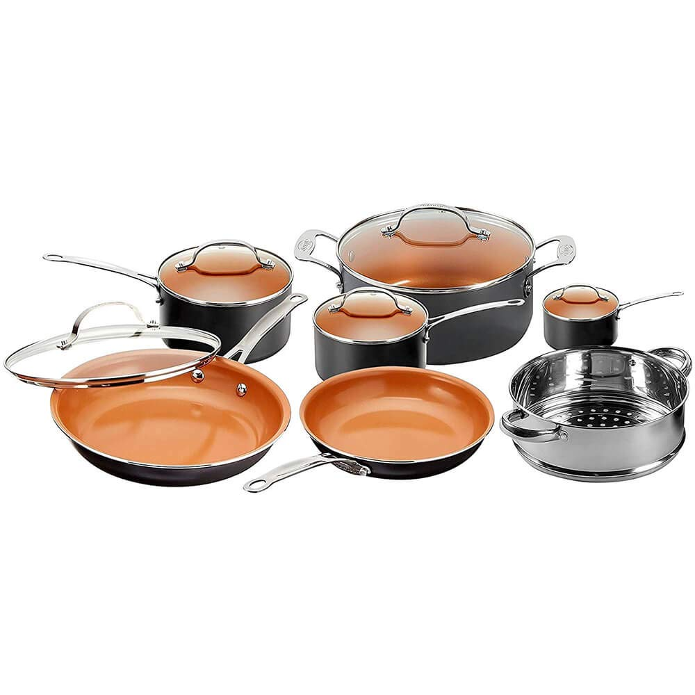 Gotham Steel 12 Piece Copper Kitchen Set with Non-Stick Ti-Cerama Copper Coating by Chef Daniel Green – Includes Skillets, Fry Pans and Stock Pots 1471