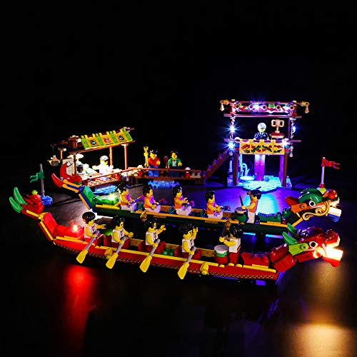 Dragon Boat Race - Vonado Lighting Building Block Lego 80103 Chinese Seasonal Set Dragon Boat Race LED Light Toys for Children Friends Brothers and Family(NOT Include The Lego Set)