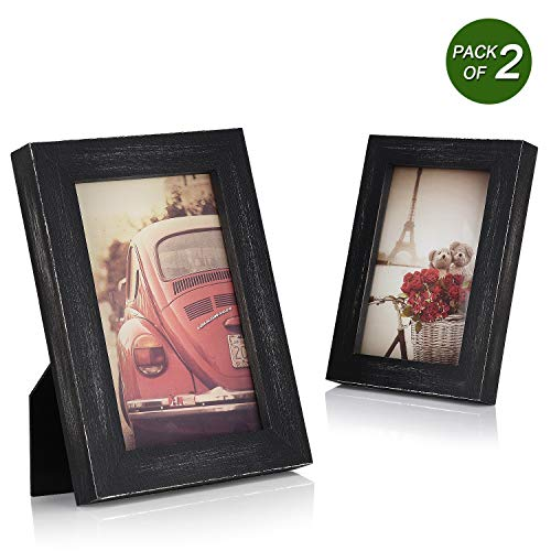 Emfogo 4x6 Picture Frames Photo Display for Tabletop or Wall Mount Solid Wood High Definition Glass Photo Frame Pack of 2 Vintage ()