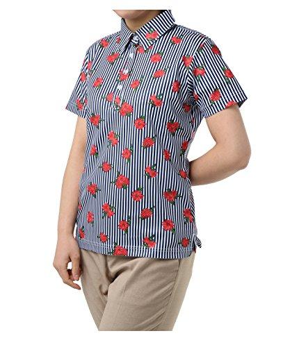 オプスト レディース ゴルフウェア ポロシャツ 半袖 ストライプフラワー半袖シャツ OP220301H08 NV M