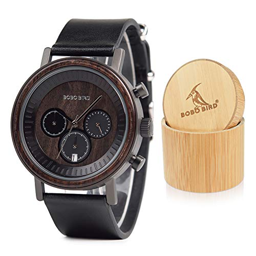 Mens Simple Luxury Sport Wooden Watches Stainless Steel Wood Date & Chronograph Watch(Black) (Best Affordable Luxury Watches)