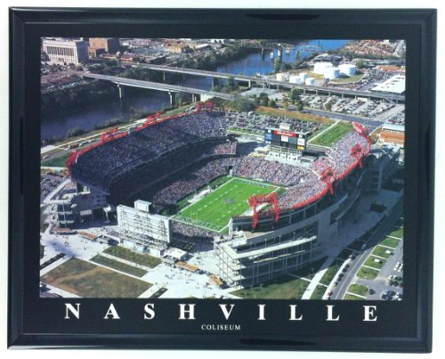 Framed Football Nashville Tennessee Titans Coliseum Aerial Stadium Print Wall Art