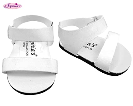 9a44d8773e960 White Doll Sandals, Doll Shoes Fits 18 Inch American Girl Dolls, Doll White  Strap Sandals