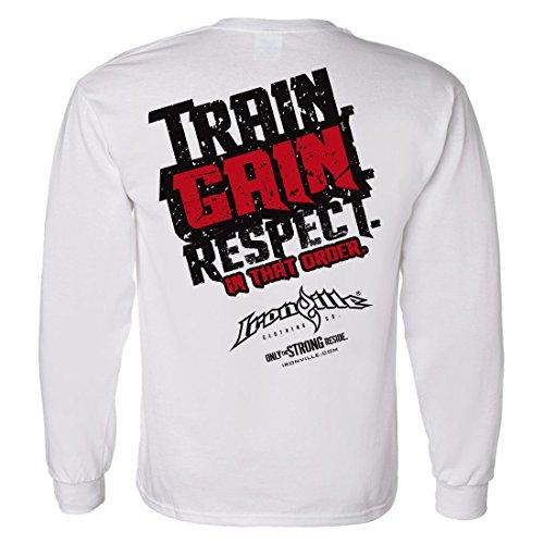 Discount Ironville Train Gain Respect Long Sleeve Bodybuilding Shirt supplier