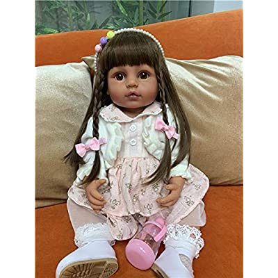 Zero Pam Realistic Reborn Baby Dolls Silicone Full Body Skin Tan Color Reborn Dolls Long Hair Girls African American Newborn Bebe Silicone Dolls 22in: Toys & Games