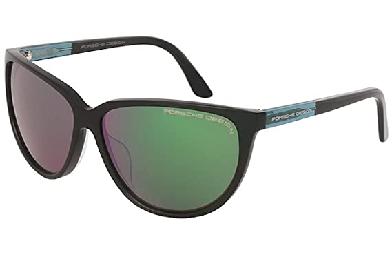 dc27fb8b031a Porsche Design Womens P 8588 P8588 A Black Mirrored Green Cateye Sunglasses  60mm
