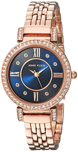 Anne Klein Women's Swarovski Crystal Accented Rose Gold-Tone Bracelet Watch
