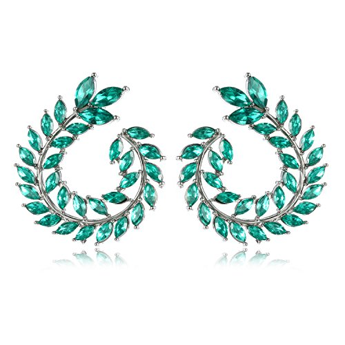 - Green Round Olive Unique Stud Earrings Branch Leaves Shape Elegant Fashion Costume Jewelry H1545B