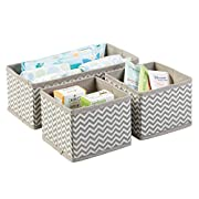 mDesign Soft Fabric Dresser Drawer and Closet Chevron Storage Organizer Set for Child/Baby Room, Nursery, Playroom – Organizing Bins in 2 Sizes – Set of 3, Zig Zag Geometric Pattern in Taupe/Natural