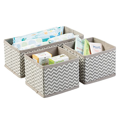 Chevron Fabric Baby Nursery Organizer for Diapers, Wipes, Lotion - Set of 3