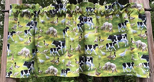 (Farm Life Animal Scene Cow Duck Goose Sheep Lamb Domestic Barnyard Animals Handcrafted Curtain Valance)