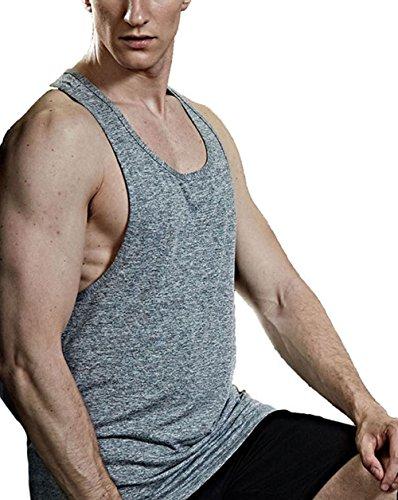 InleaderStyle Men's Gym Stringer Bodybuilding Training Polyester Singlet Muscle Causal Workout Tank Top Vest Sportwear-Gy-XXL