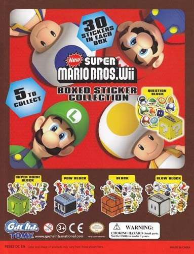 Super Mario Bros. Wii Boxed Sticker Collection Set of 5 Vending Toys - Capsule Toys