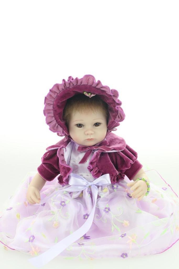Nicery Reborn Baby Doll Soft Silicone 18in 45cm Toy Purple Eyes Open Boy Girl
