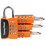 4 Pack Open Alert Indicator TSA Approved 3 Digit Luggage Locks for Travel, Suitcase & Baggage (Orange)