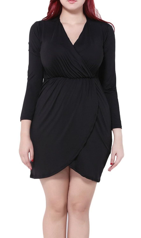 Bigood Plus Size Lange Armel V Kragen Sommerkleid Minikleid Cocktailkleid Party Kleid