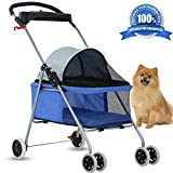 Dog Stroller Pet Stroller Cat Strollers Jogger Folding Travel Carrier Durable 4 Wheels Doggie Cage with Cup Holders 35Lbs Capacity Waterproof Puppy Strolling Cart for Small-Medium Dogs - Cats