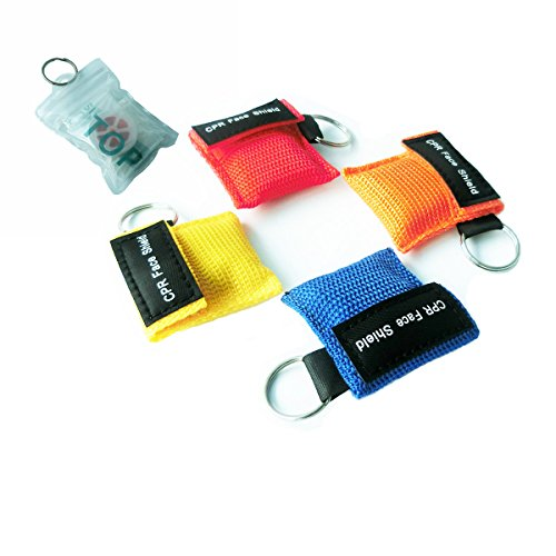 Bag Valve Mask Ventilation - Elysaid 4 Pcs/Pack CPR Mask with Keychain CPR Face Shield for CPR/AED Training 4 Colors