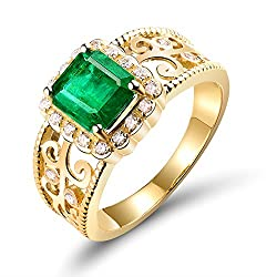 Yellow Gold With Natural Emerald Ring