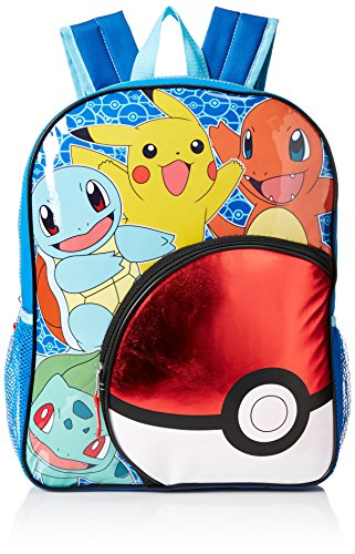 "Pokemon Big Boys Pokeball Pocket 16"" Backpack, Yellow/Blue, 16"