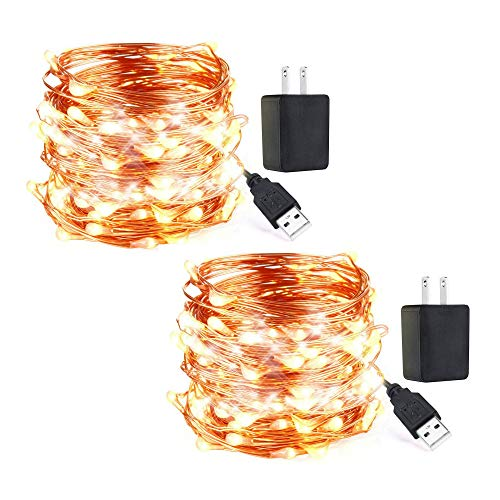 innotree LED String Lights, [2 Pack] USB Plug in Fairy Lights, 33 ft 100 LED Copper Lights, Starry Lights, Waterproof Decorative Lights for DIY Bedroom, Garden, Party, Wedding(UL Adapter, Warm White)