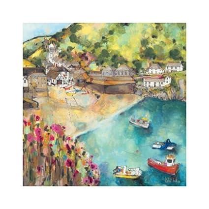 Port Isaac Art Print - Tarjeta de felicitación, diseño de ...