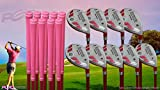 Senior Ladies iDrive Pink Golf Clubs All Hybrid Set 55+ Years Womens Right Handed Lady Full True Hybrid Complete Rescue Set which Includes: #3 4 5 6 7 8 9 PW +SW New Rescue Utility ''Senior'' Flex Club