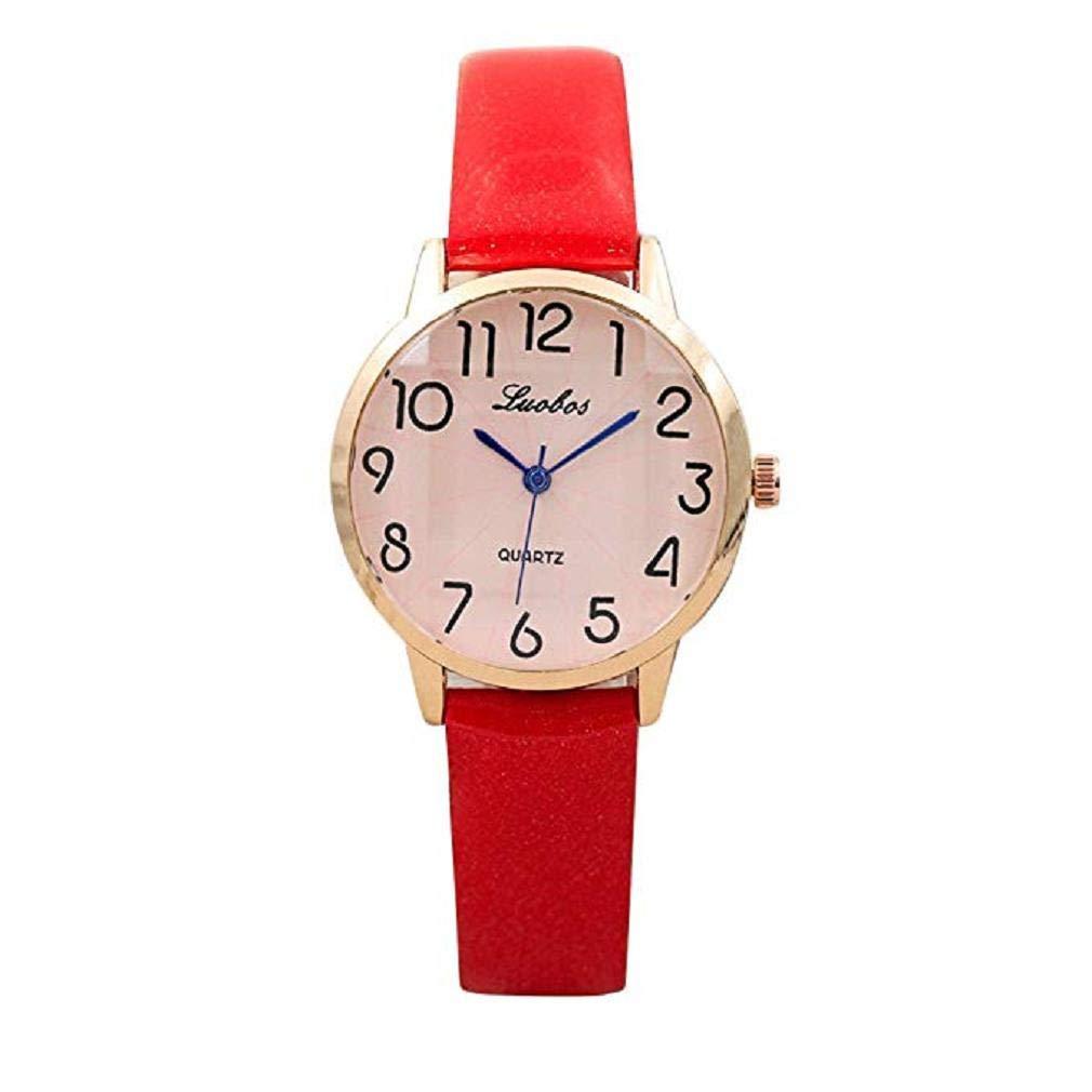 Scpink Relojes de Cuarzo de Las Mujeres Reloj de Pulsera Simple dial Digital Reloj de Las señoras de Cuero Moda Adolescente Reloj de Pulsera único Reloj ...