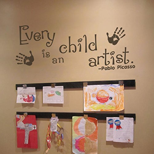 "Every Child is an Artist Decal - Children Artwork Display Decal - Picasso Quote Wall Sticker (34x15"" Black)"