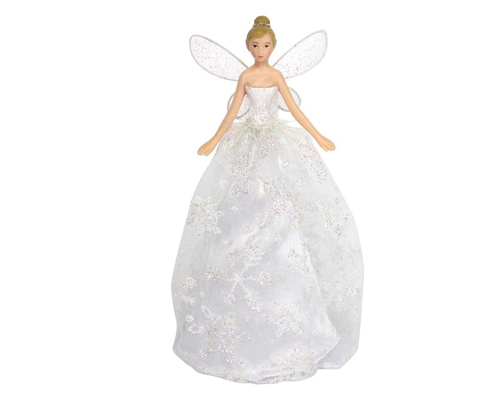 18.5cm Gisela Graham Iridescent Glitter Snowflake Fairy Christmas Tree Topper Crafty Capers