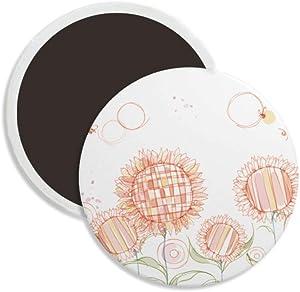 Hand Painted Flower Plant Sunflower Honeybee Round Ceramics Fridge Magnet Keepsake Decoration