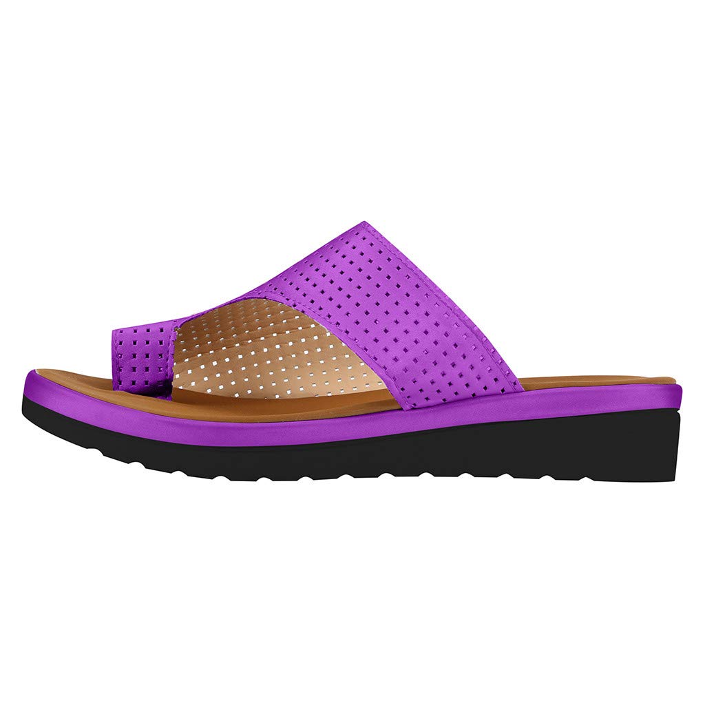 Platform Sandals for Women,2019 New Casual Fashion Clip Toe Comfort Flip Flops Roman Beach Slippers (US:8.5, Purple) by Yihaojia Women Shoes (Image #2)