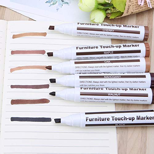 Boxgear Furniture Repair Markers and Wax Sticks with Sharpener for Stains, Scratches, Wood Floor, Tables, Desks, Maple, Oak, Cherry, Walnut, Black, Mahogany