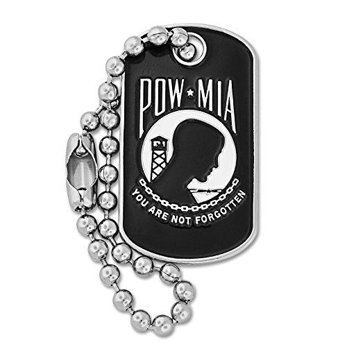 PinMart Military P.O.W./M.I.A. Dog Tag Key Chain Enamel Lapel Pin